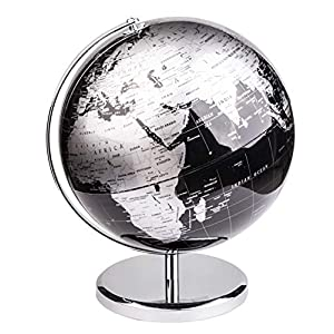 Exerz 30cm Globo Terráqueo – en Inglés – Decoración de escritorio educativa/geográfica/moderna – Con una base de metal – Negro Metálico – Diámetro: 30cm