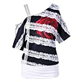 BHYDRY Mode Damen Casual Kurzarm Skew Neck Trägerlosen Blumendruck T-Shirt Tops (EU-40/CN-S, Weiß)