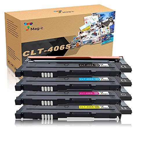 7Magic CLT-406 Compatibile con Samsung CLT-P406C CLT-406S cartuccia del toner,Compatibile con Samsung CLP-360 CLP-365 CLP-365w CLX-3305 CLX-3305fn Xpress SL C460fw C460w C410w C460 C467w(4 Pacchi)