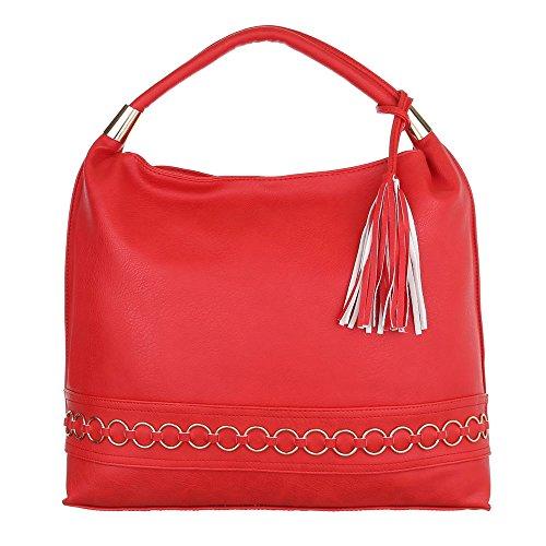 iTal-dEsiGn Damentasche Große Handtasche Tragetasche Shopper Kunstleder TA-AH610 Rot