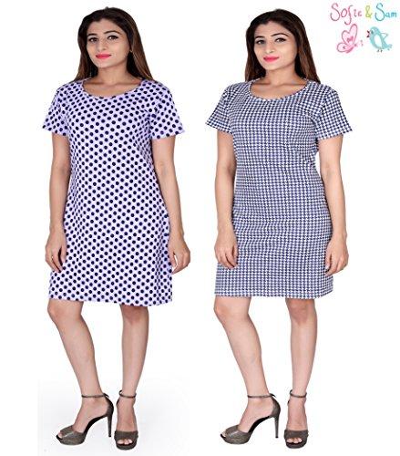 Sofie & Sam Pack de 2 camisetas larga combinadas de algodón orgánico para mujer, Talla: Pequeña - Ploka & Hounds Tooth Blue