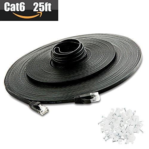 Cat 6Ethernet Kabel 25FT (bei CAT5e Preis, sondern höhere Bandbreite) CAT6Internet Netzwerk Kabel–Kabel Flach Ethernet Patch kurz–schwarz Computer LAN Kabel + Clips und-Etiketten