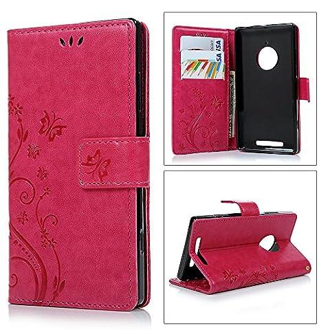 Nokia Lumia 830 Etui Cuir-Etui à Rabat Portefeuille de Carte Slots Support Case Cover Housse-ZSTVIVA [Style d'Impression] Rose Foncé