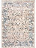 Benuta Teppich Vintage Safira Beige/Blau 160x235 cm - Vintage Teppich im Used-Look