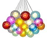 KJLARS Modern Pendelleuchte Höhenverstellbar Pendellampe Kristall Hängelampe Bunte Glas Hängeleuchte mit für Kinderzimmer Wohnzimmer Kronleuchter, Inklusiv Glühbirne(19 Lights)