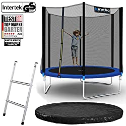 Kinetic Sports outdoor garden trampoline Ø 244 cm, TPLS08, including jumping mat from USA PP mesh + safety net + edge u. Rain Cover + Conductor, to 80kg, Intertek GS approved, UV resistant, BLUE