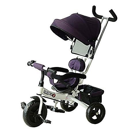 HOMCOM Tricycle Enfant Evolutif Pare-Soleil Pliable Canne Parentale Télescopique 92 x 51 x 110cm Fer Violet et Blanc