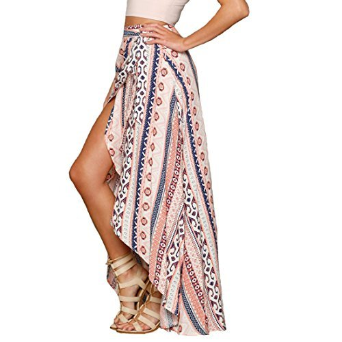 SHFZ Womens Ethnic Print Maxi Skirt Wrapped Beach Bathing Suit Cover up Dress by SHFZ
