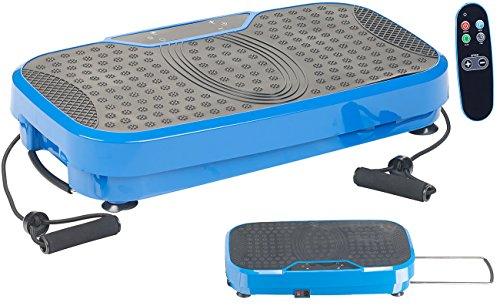 Newgen Medicals Rüttelplatten: Breite Vibrationsplatte, 300 Watt, 20 Frequenzen, Fernbedienung, Timer (Ganzkörper Vibrationsplatte)