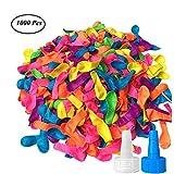 SAIYU Wasserballons 1000 Stück Mehrfarbige Wasserbombe Ballons Premium Latex Wasserbombe Luftballons mit Refill Kits für Kinder Erwachsene Draussen Wasserbombe Kampfspiele
