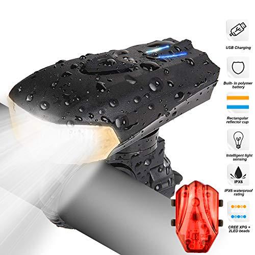 LED bicicletta luce, Luci Bicicletta LED Ricaricabili USB con 1200 lumen & Resistente all'acqua IP65, Luci per Bicicletta Intelligente 5 Modalità LED per Bici Strada e Montagna- Sicurezza per Notte