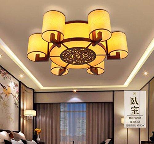 ZHGI Stile cinese di pelle di pecora in legno lampadari lampade a doppio scopo di legno lampada pergamena,6