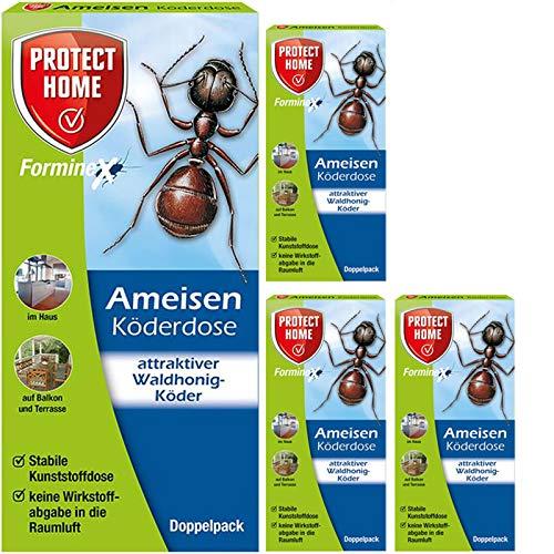 Protect Home Forminex Ameisen Köderdose 4 x 2 Stück - Gratis Gardopia Zeckenzange mit Lupe - Outdoor-ant-traps