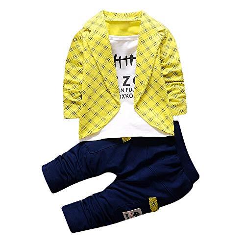 feiXIANG 2 stücke Kleinkind Baby Jungen Kleidung Set Tops Lange Hosen Fake Zwei Stücke Tops Hosenanzug Outfits Kinder Kostüm (Gelb,80) (Stück Hosenanzug Zwei)