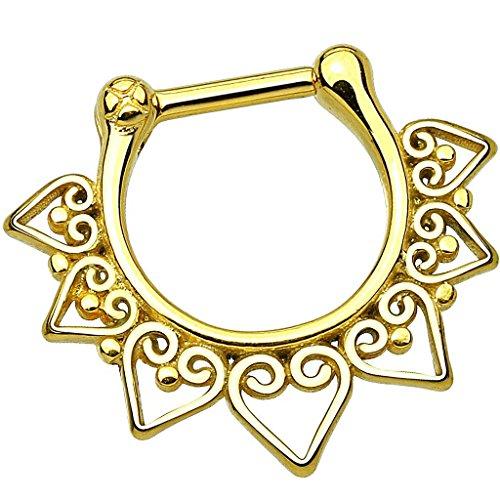 Piersando Piercing Scharnier Clicker Ring Tribal Spikes Spitzen mit Herz Ornament Vintage Septum für Tragus Helix Ohr Nase Lippe Brust Intim Spitzen Gold