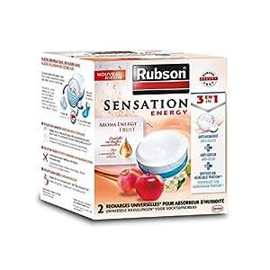 RUBSON - Recharges parfumées pour absorbeur d'humidité - Aroma Energy - Parfum Fruits - 2 recharges