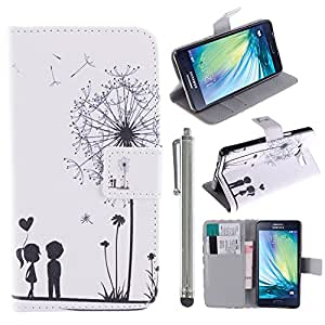 Hunye Custodia PU Pelle Portafoglio per Samsung Galaxy A5 (2015) Case Tarassaco Ragazzo e Ragazza Flip Cover con Stilo Penna argento