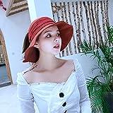 uleur Pure Chapeau de pêcheur écran Solaire femelle japonais littéraire visière Pliable marée vin Rouge réglable