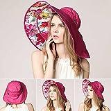Starter donna cappello da sole, cappello a tesa larga spiaggia, per estate pieghevole parasole rosa rosso Rose Red