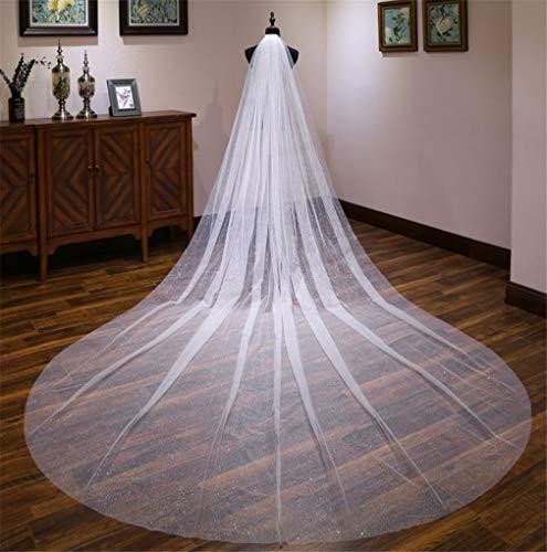 ELEGENCE-Z Hochzeitsschleier, Europa und Amerika Einfache hochwertige Spitze Langen Abschnitt 4 Meter Party Hochzeit Prozession Braut Kirche Schleier