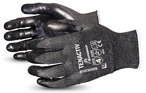 tenactiv Composite Filamentfaser Schnittschutzhandschuh, Klasse 5Schnittfeste Knit Handschuh mit Schaum Nitril Palmen schwarz, 8, grau, 1