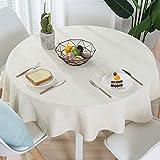 Nclon Volltonfarbe Baumwolle Leinen Tischdecke, Modernen Einfache Runden Esstisch Tischtuch tischwäsche, Textur Natürlichen Hohe Farbe Fasten-Cremeweiß Durchmesser 160cm
