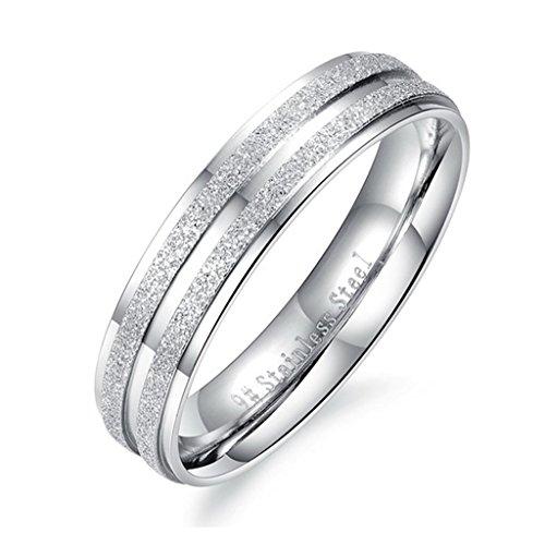 Bishilin Acciaio Inossidabile Smalto Opaco Argento Anelli Matrimonio Fedi Nuziali Coppia Anello Fidanzamento per Anniversario per Uomo Misura 15 - Cuscino Dell'anello Set