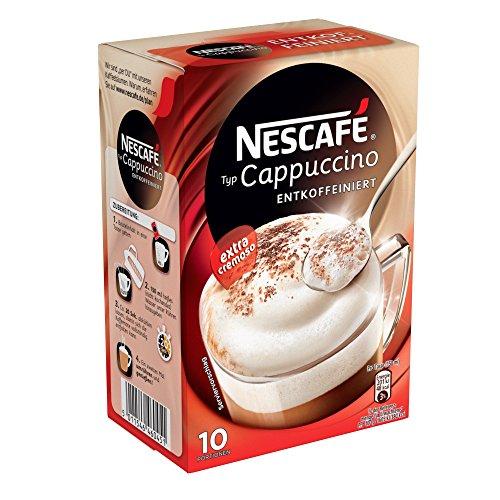 Nescafé Typ Cappuccino Entkoffeiniert, Löslicher Kaffee, Faltschachtel mit 10 x 12,5g Portionsbeutel (4er Pack)
