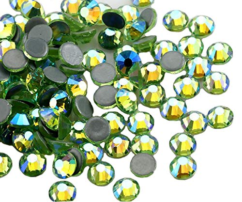 Jollin Hot Fix Kristalle Flacher Rückseite Strasssteine Glas Glitzersteine Nagelkunst Edelsteine Gems, Light green AB, SS20 576pcs (Ab Strass Green)
