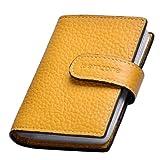 Kreditkartenhalter Leder, RFID Schutz Ausweisetui Herren/Damen Kartenetui,Scheckbuchhülle (Gelb)