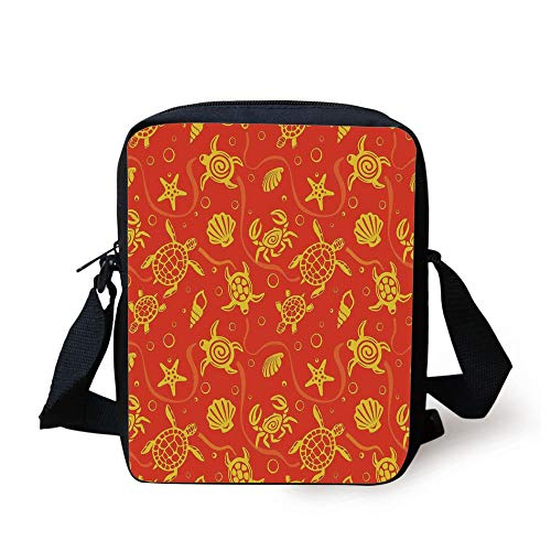 LULABE Burnt Orange,Swimming Turtles and Crabs with Shells Bubbles and Starfish Tropical Ninja Decorative,Burnt Orange Yellow Print Kids Crossbody Messenger Bag Purse