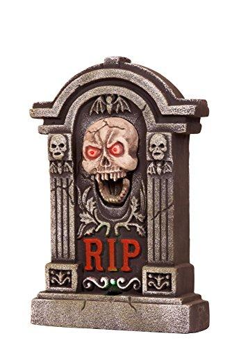 Wilbers Halloween Party Deko Dekoration RIP Grabstein mit Effekten (Rip Grabstein Kostüm)