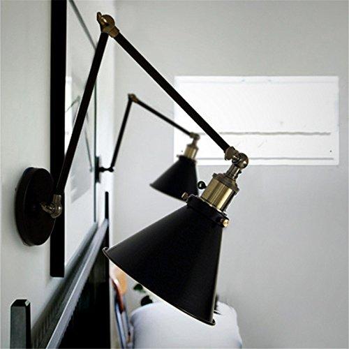 Weare Home RH simple commercial classique rétro pour la salle à manger le café le bar couleur noir E27 110-220V avec abat-jour de type parapluie bras d'antique en deux segments