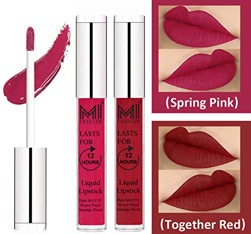 Liquid Lipsticks Combo by MI Fashion®|Spring Pink Liquid Lip Gloss Lipstick,Together Red Liquid Lipstick|Pure Matte|Water Proof|Smudge Proof|and |Long Lasting| Combo of 2 Lipsticks