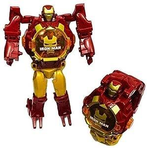 TS Playy Iron manTransformer Robot Toy Convert to Digital Wrist Watch for Kids Avengers Robot Deformation Iron Man