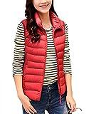 Damen Daunenweste Packbare Leichte Outdoor Weste Winter Daunenweste Ärmellose Daunenjacke Steppweste Rot XL