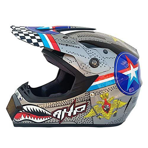 lm Roller-Helm Full Face Dual Sport Helmet Off Road Motocross UTV ATV Motorcycle Enduro Multicolor (15,XL) ()