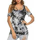 50e1d582ce22 Kobay Frauen Kurzarm O-Neck Bedruckte trägerlose Oberteile Plus Size T-Shirt  Bluse(XL,Schwarz)