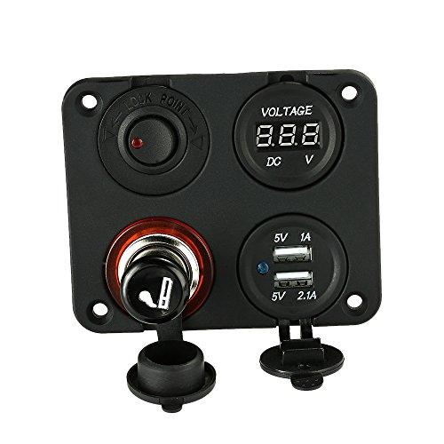 KKmoon Base Panel 4 Agujeros + Dual Toma USB + Voltímetro