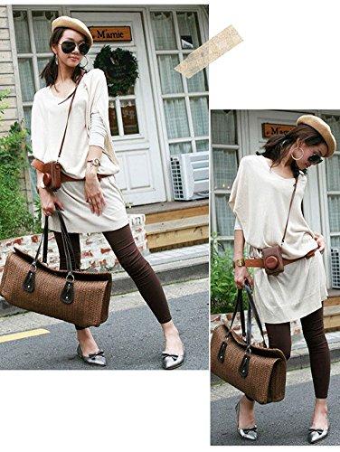 tonwhar Femme Vintage plage sac de paille tissé sacs de paille Multicolore beige Marron foncé