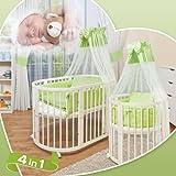 Comfort Baby–Moisés cuna cama infantil ovalada, 7en 1, de madera de haya maciza, puede usarse como cama infantil, parque o minicuna, e incluye dosel, fundas, mantas, colchones, colchas, etc., oferta completa, cuna de color blanco y juego de cama de color verde
