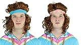 Vohuila Rapper Fokuhila ASSI Jogging Kleidung neon Set 80er Jahre- Goldkette Goldkettchen Kette gold mit Schweißband Schweißarmband pink für Fasching Karneval Kleidung Kostüm (Schweißband Mod.2)