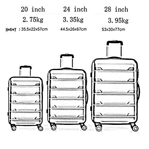 ABS + PC Gummi Mute Universal - Rund Aluminium Alu Trolley Tasche Gepäck Tasche Passwort Box ( Farbe : 3 , größe : 24 inch ) 3