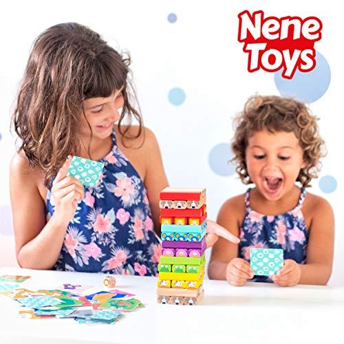 Nene Toys -  Torre de Bloques de Madera 4 en 1 con Colores y Animales -  Juguete Educativo para Niños Niñas de 4 a 8 años -  Juego de Mesa Infantil ideal como Regalo para Compartir entre Padres e Hijos
