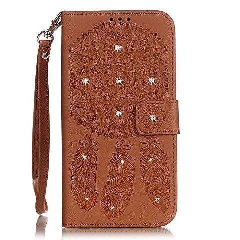 Jepson Samsung Galaxy S7 / SM-G9300 (5.1 pouces) Coque PU Cuir Flip Housse Étui Cover Case Wallet Stand avec Carte de Crédit Fentes pour ,L'utilisation de la technologie de pointe en relief surface de diamant de marqueterie de cuir.
