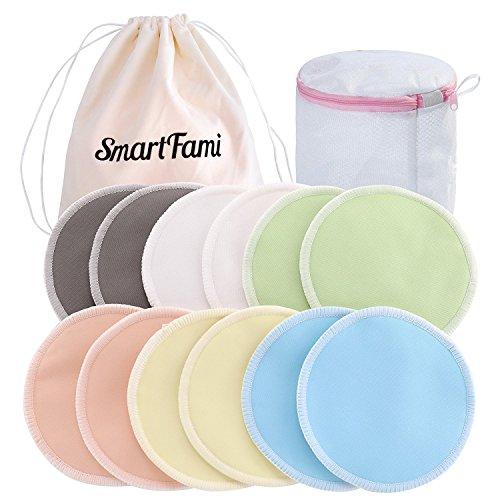 Die Besten Waschbaren Bio Bambus Stilleinlagen (12er-Pack) mit Wäschenetz und Stofftasche von SmartFami, Wiederverwendbare Brusteinlagen, Ultraweich, Wasserdicht, Auslaufsichere BH-Einlagen, Saugfähig