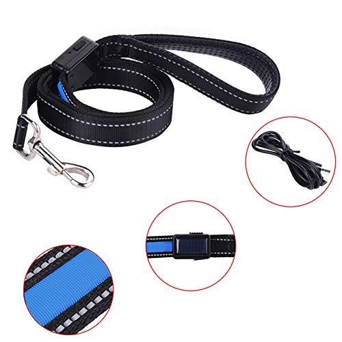 Einziehbare Hundeleine, solarbetriebene LED-Hundeleine, USB wiederaufladbar, Hundeleine, Petsafe Nylon, verstellbare Schlaufe, reflektierende Fäden, Trainingsleine, Traction Seil, 1,5 m (blau)