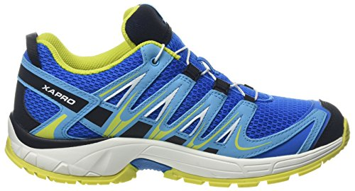 Chaussures De Course Pour Enfants Salomon, Trail Running Et Activités De Plein Air Xa Pro 3d Blue (bruant Indigo / Blanc / Bruant Spring Spring Indigo / Blanc / Ressort Soufré)