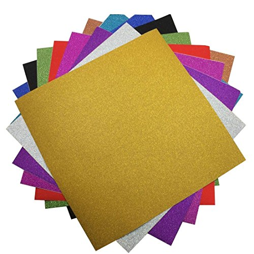 Gnognauq 10 Sheets Large 30x 30cm Glitter Self-Adhesive Sticker Craft Art Sparkling Gemstone Metallic Color Diy Gift