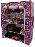#9: Homecute Shoe Rack 4 Layer with Cover, Door, Closed, Collapsible, Portable, Movable, Cloth Cabinet, Organiser and Almirah Types, Steel Metal Pipe, Plastic and Non-Woven Fabric. Colour- Blue Big Heart